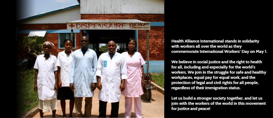 Five health workers stand in front of the rural health clinic where they work in Côte d'Ivoire