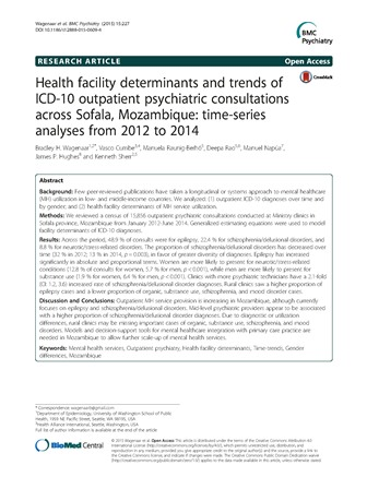 Health Facility determinants and trends of ICD-10 outpatient psychiatric consultations across Sofala, Mozambique: time-series analyses from 2012-2014