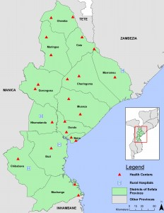 Map of Mozambique health facilities